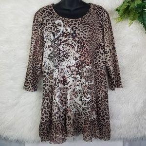 Leopard Print Embellished Tunic Dress